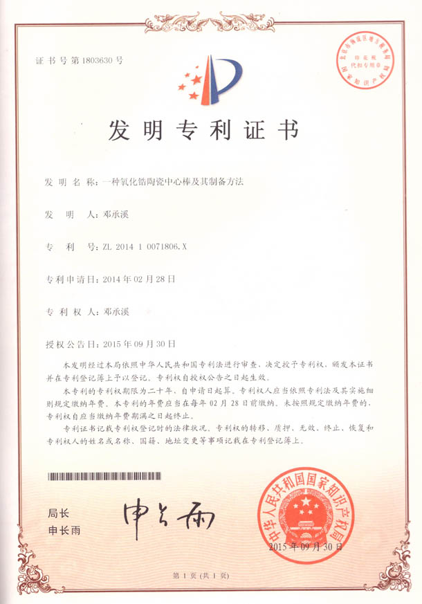 Patent Certificate of Invention